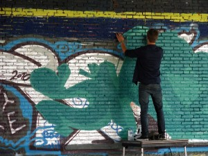 "Spraying graffiti in ""Park Spoor Noord, Antwerp"""